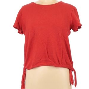 Madewell XS Red 100%Cotton Size Knot Top